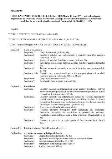 regulamentul (CEE) nr. 1408/71 - Ministerul Muncii, Familiei şi ...