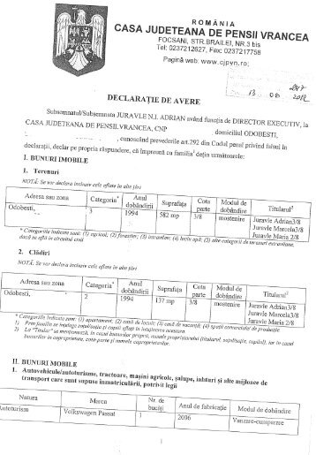 Juravle N I Adrian - Director executiv, CJP Vrancea - Casa Naţională ...