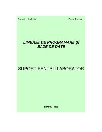 SUPORT PENTRU LABORATOR - Prima Pagina