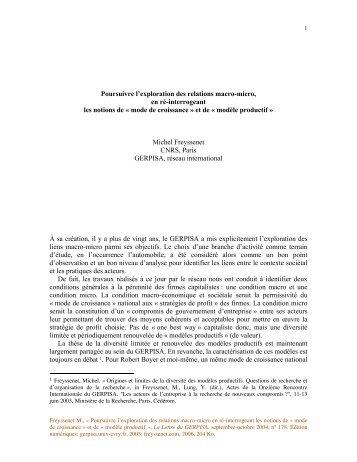 Poursuivre l'exploration des relations macro ... - Michel Freyssenet
