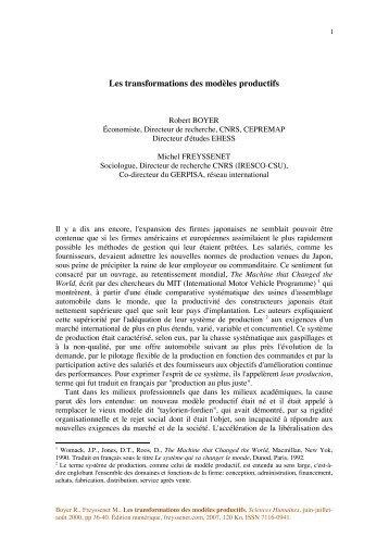 Les transformations des modèles productifs - Michel Freyssenet