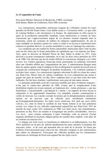 Le 11 septembre de l'auto Freyssenet Michel, Directeur de ...