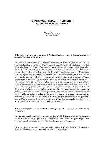 FORMES SOCIALES D'AUTOMATISATION ET ... - Michel Freyssenet