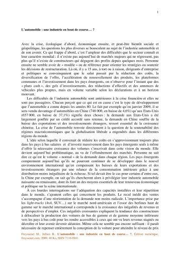L automobile une industrie en bout de course.pdf - Michel Freyssenet