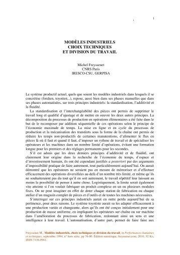 modèles industriels choix techniques et division ... - Michel Freyssenet