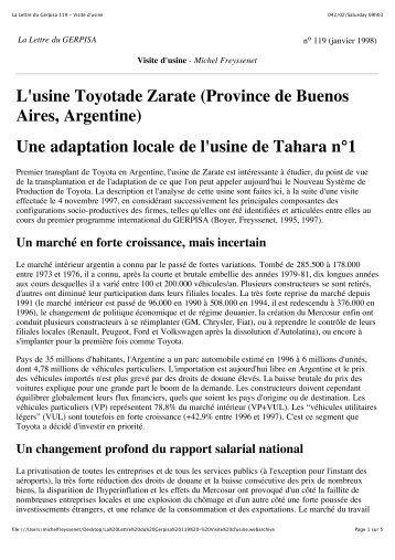 La Lettre du Gerpisa 119 - Visite d usine.pdf - Michel Freyssenet