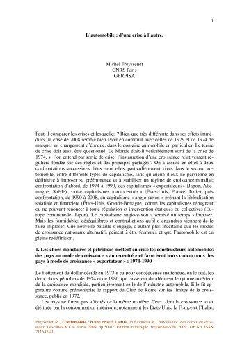 L automobile d une crise a l autre, livre.pdf - Michel Freyssenet