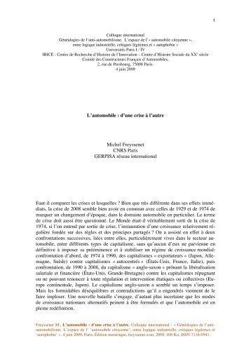 L'automobile : d'une crise à l'autre Michel Freyssenet CNRS Paris ...