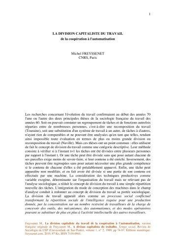 1 LA DIVISION CAPITALISTE DU TRAVAIL de ... - Michel Freyssenet