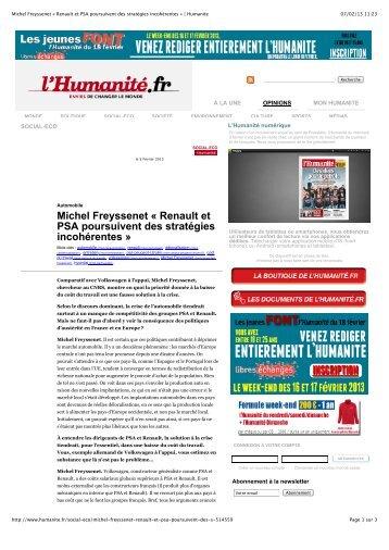 Michel Freyssenet « Renault et PSA poursuivent des stratégies ...