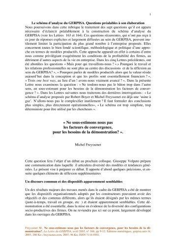 Â« Ne sous-estimons nous pas les facteurs de ... - Michel Freyssenet