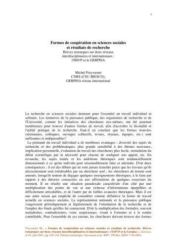 Formes de coopération en sciences sociales et ... - Michel Freyssenet