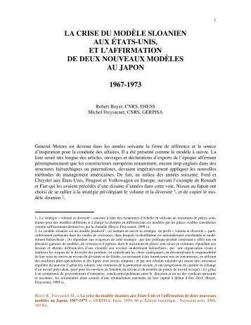 La crise du modele sloanien aux Etats Unis et l ... - Michel Freyssenet