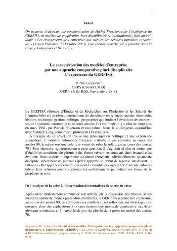 La caracterisation des modeles d entreprise par ... - Michel Freyssenet