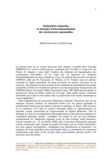Intégrations régionales et stratégies d ... - Michel Freyssenet