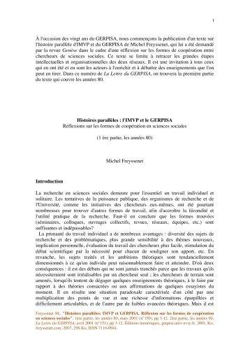 À l'occasion des vingt ans du GERPISA, nous ... - Michel Freyssenet