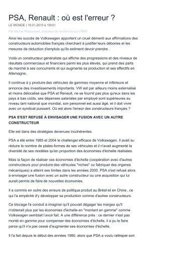 PSA, Renault : où est l'erreur (Le Monde) .pdf - Michel Freyssenet