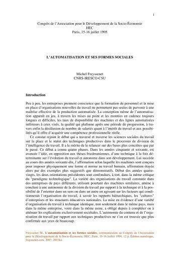 L automatisation et ses formes sociales.pdf - Michel Freyssenet
