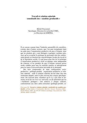 Travail et relation salariale constitutifs des ... - Michel Freyssenet