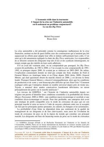 L impact de la crise sur l industrie automobile ... - Michel Freyssenet