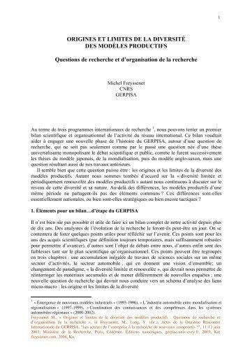 Origine et limites de la diversite des modeles ... - Michel Freyssenet