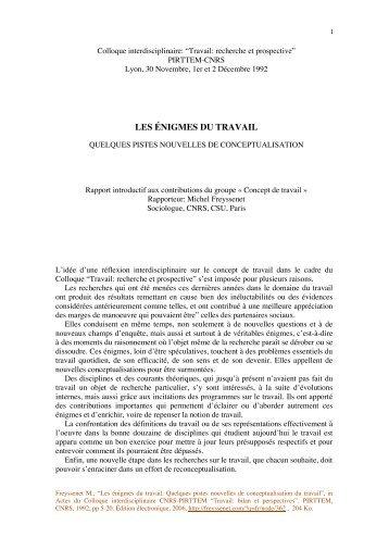 Quelques pistes. Colloque Travail.pdf - Michel Freyssenet
