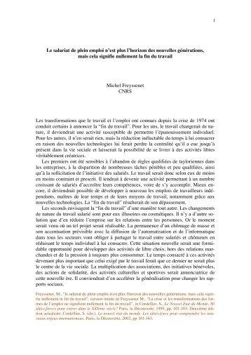 La crise et les transformations des formes de l ... - Michel Freyssenet
