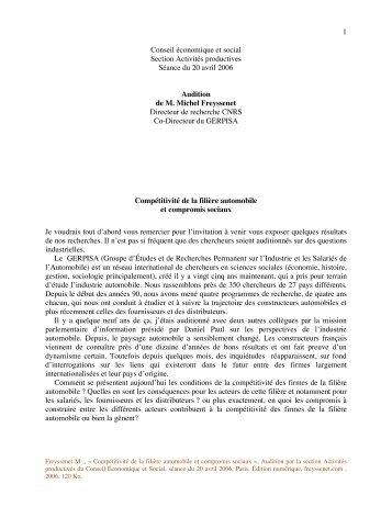 Competitivite de la filiere automobile et ... - Michel Freyssenet