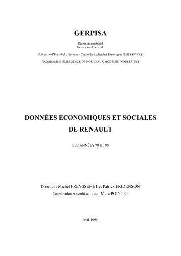 Donnees economiques et sociales de Renault ... - Michel Freyssenet