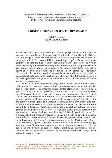 La genese du travail en groupe chez Renault.pdf - Michel Freyssenet