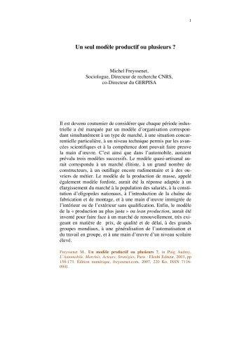 Un modele productif ou plusieurs.pdf - Michel Freyssenet