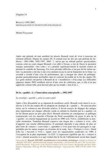 Renault 1992-2007 Mondialisation et ... - Michel Freyssenet