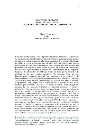 Strategies de profit, modeles industriels et ... - Michel Freyssenet