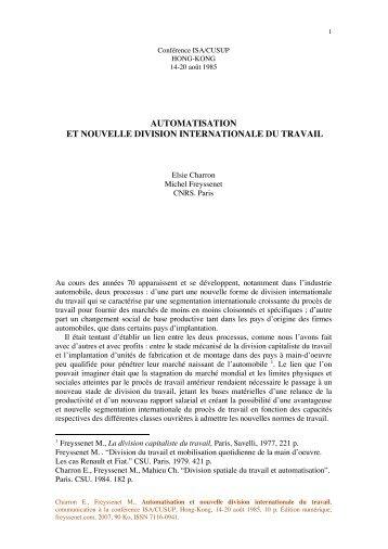 AUTOMATISATION ET NOUVELLE DIVISION ... - Michel Freyssenet