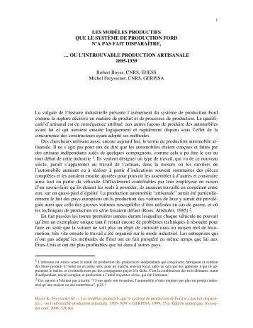 Les modeles productifs que le systeme de ... - Michel Freyssenet