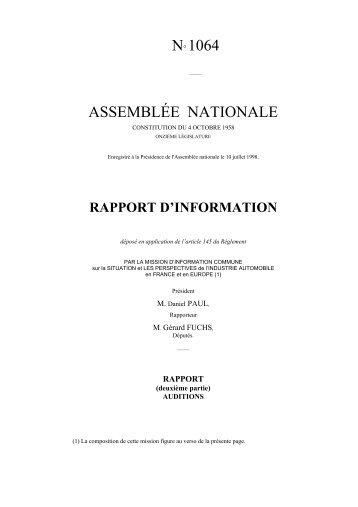 N 1064. Rapport d information de M. Gerard ... - Michel Freyssenet