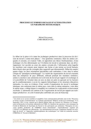 PROCESSUS ET FORMES SOCIALES D ... - Michel Freyssenet