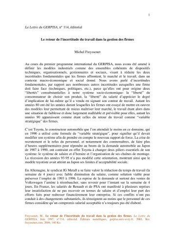 Retour de l incertitude du travail dans la gestion ... - Michel Freyssenet