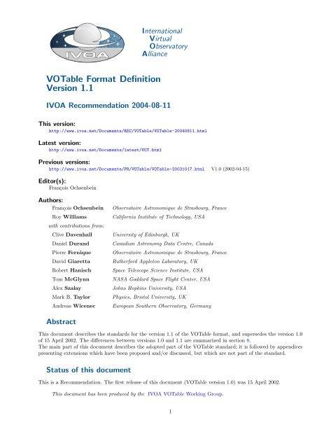 VOTable Format Definition Version 1.1 - IVOA