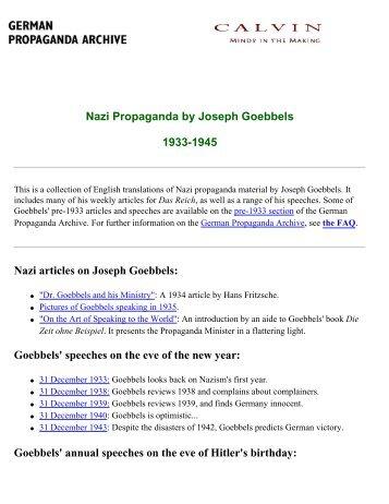 Nazi Propaganda (1933-1945) - Joseph Goebbels - Neues Europa