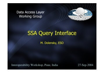 SSA Query Interface - IVOA