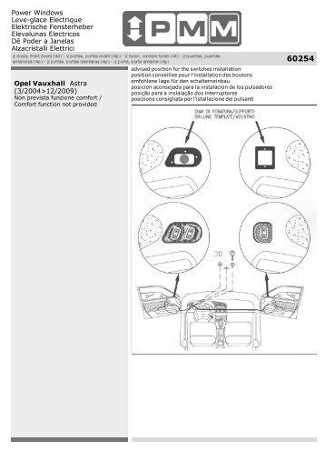 Opel Vauxhall Astra (3/2004>12/2009) - ALGO : Alzacristalli Elettrici ...