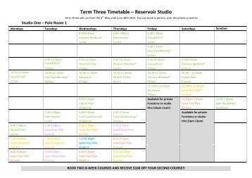 Term Four Timetable – Reservoir Studio - Pole Princess