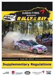 Rally of the Bay 2013 Supplementary Regulations - North Shore ...