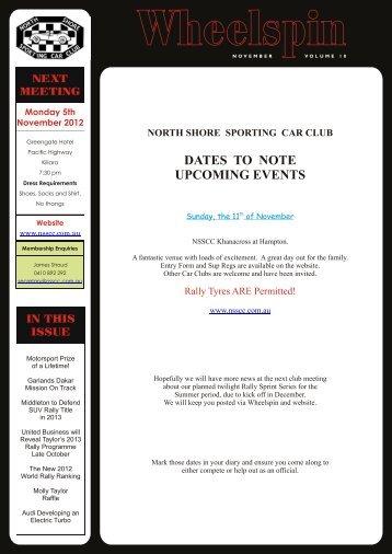 Wheelspin – November 2012 - North Shore Sporting Car Club