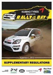 Kumho Rally of the Bay Supplementary Regulations - Brindabella ...