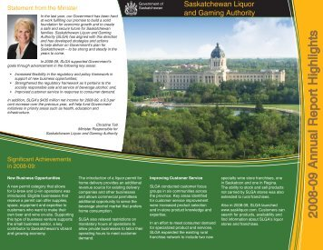 2008-09 Annual Report Highlights - Saskatchewan Liquor and ...