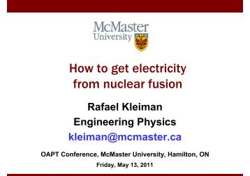 Dr. Kleiman's Talk on Solar Energy - OAPT