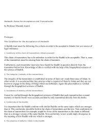 by Professor Mustafa Azamī A Hadith must meet the ... - Hoor al-Ayn