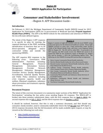 Consumer and Stakeholder Involvement - Kalamazoo Community ...